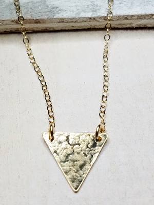 Gold Hammered Triangle Necklace