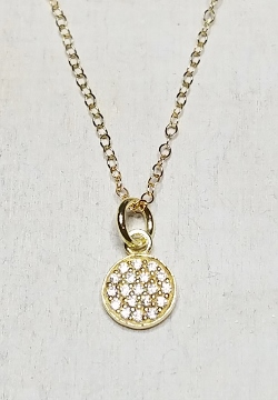 Vermeil Gold CZ Pave Round Disk Necklace