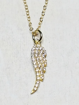 Vermeil Gold CZ Pave Angel Wings Feather Necklace