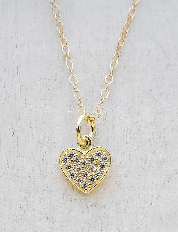 Vermeil Gold CZ Pave Tiny Heart Necklace