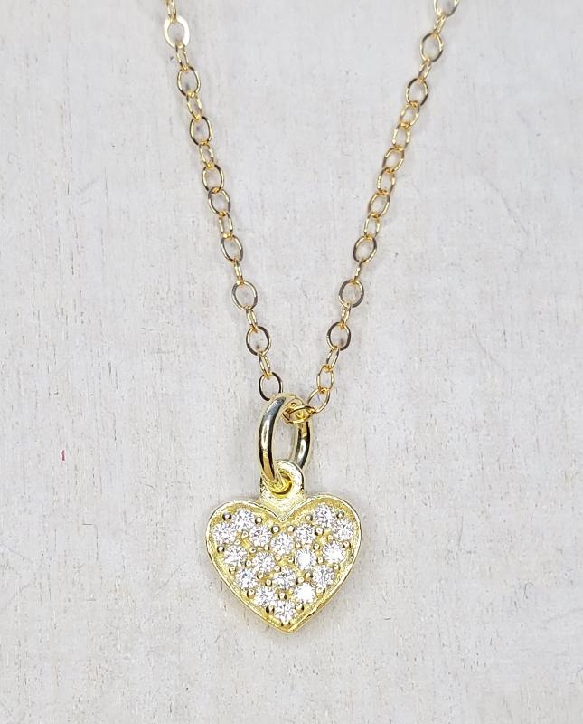 Vermeil Gold CZ Pave Tiny Heart Necklace