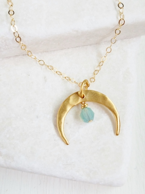 Gold Hammered Crescent Moon Necklace - Pacific Opal