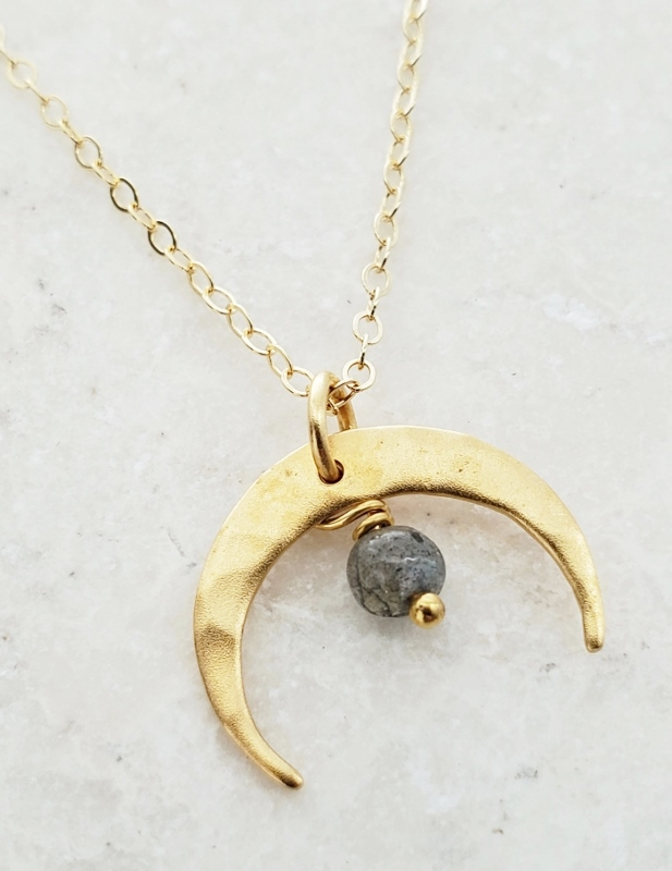 Gold Hammered Crescent Moon Necklace - Labradorite