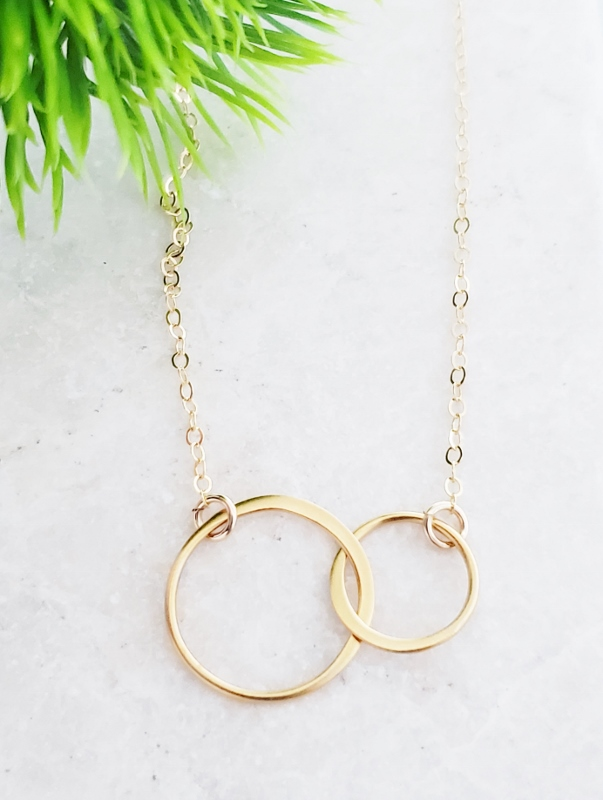 Gold Two Intertwined Circle Necklace