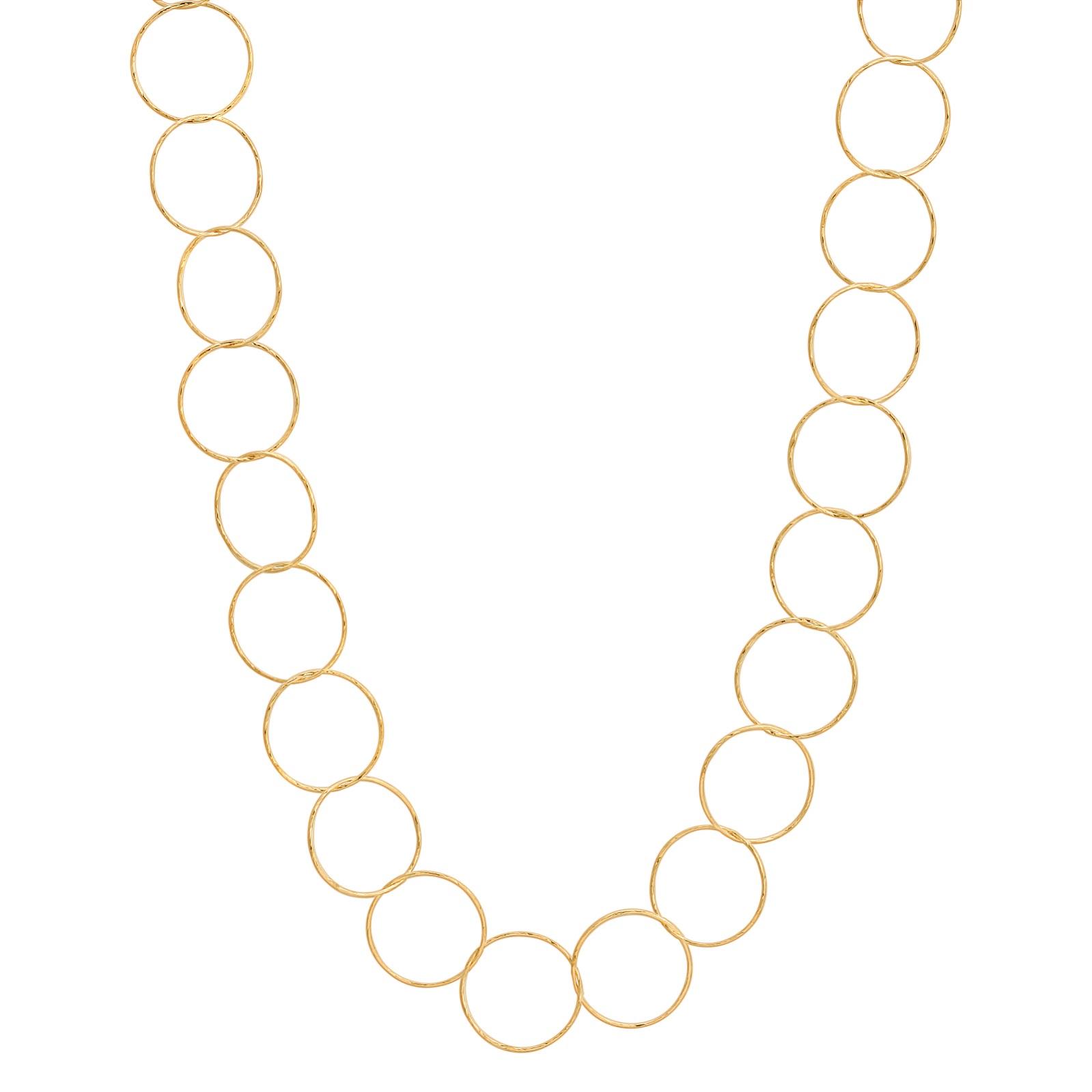 "24"" Gold Diamond Cut Circle Necklace"