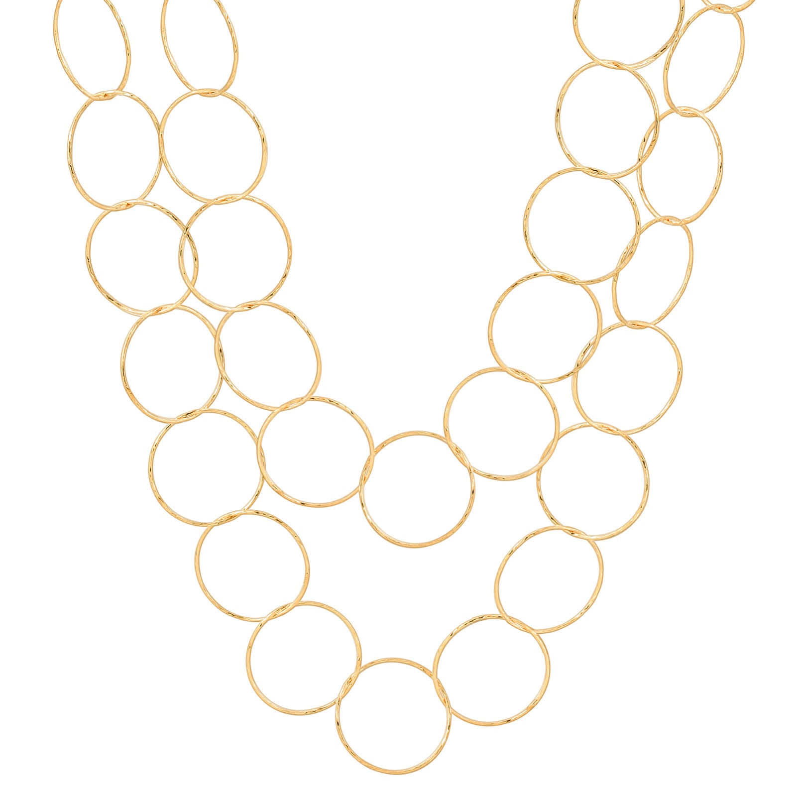 "36"" Gold over Sterling Silver Diamond Cut Circle Necklace"