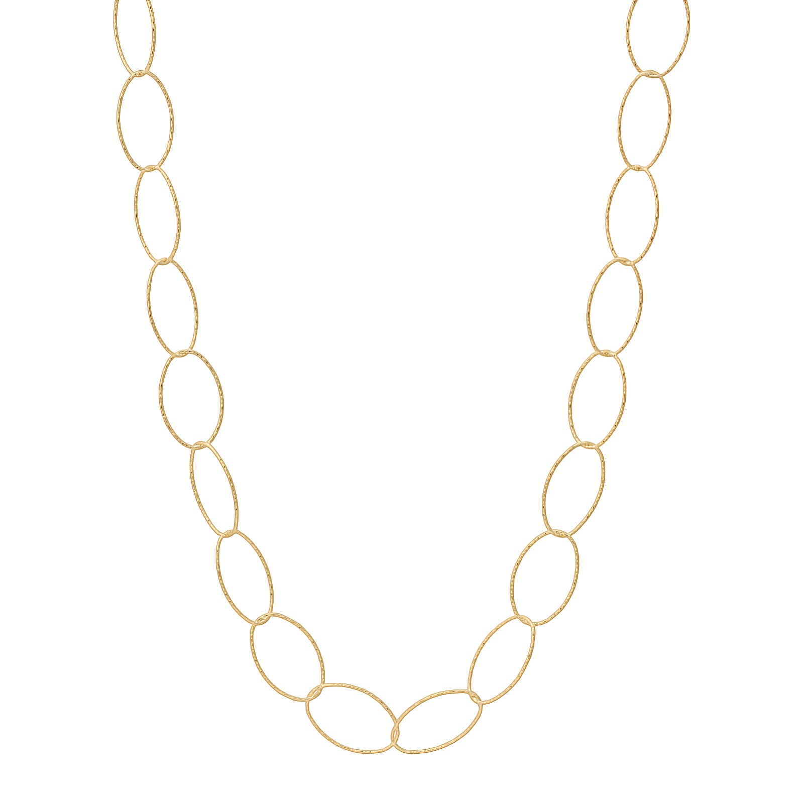 "36"" Gold over Sterling Silver Diamond Cut Oval Necklace"