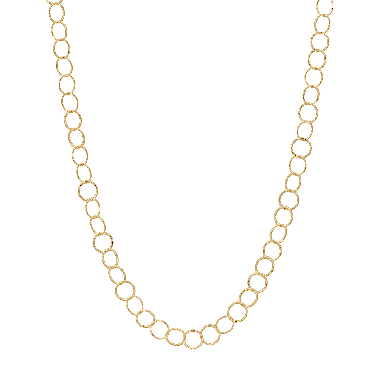 "36"" Gold over Sterling Silver Small Circle Diamond Cut Necklace"
