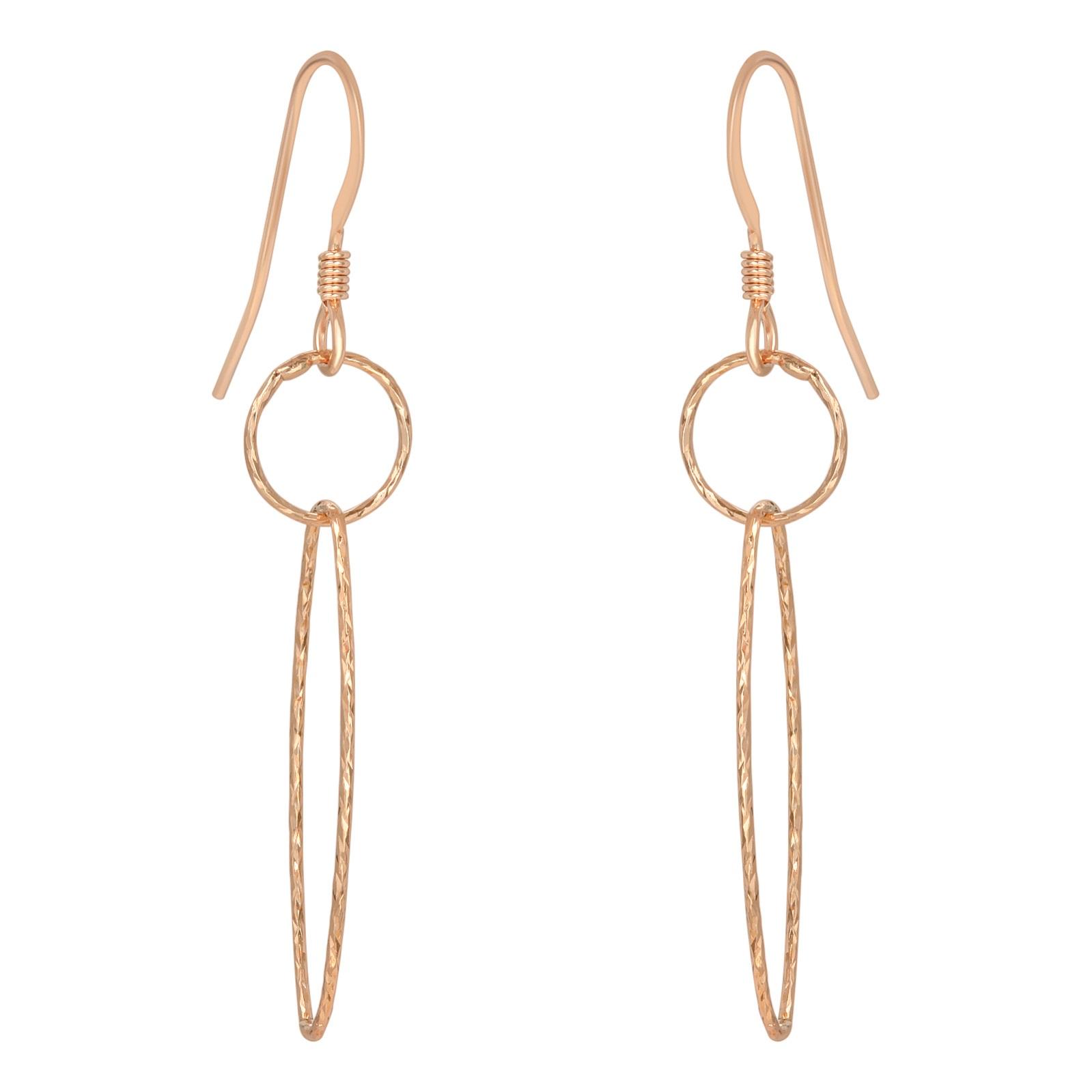 Rose Gold Diamond Cut Combo Earrings