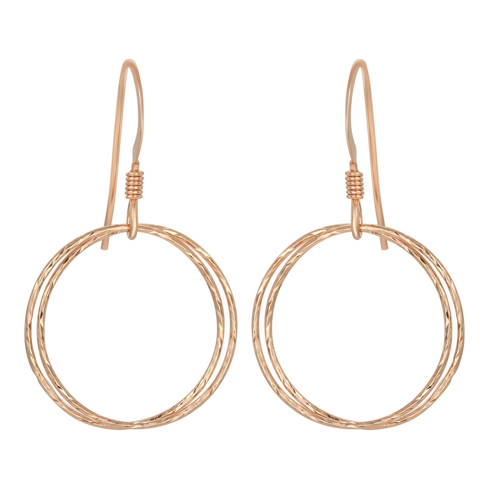Rose Gold Diamond Cut Circle Earrings