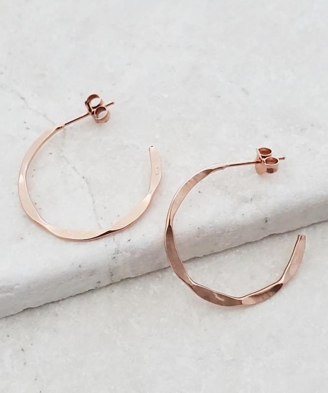 Rose Gold Hammered Hoops Earrings
