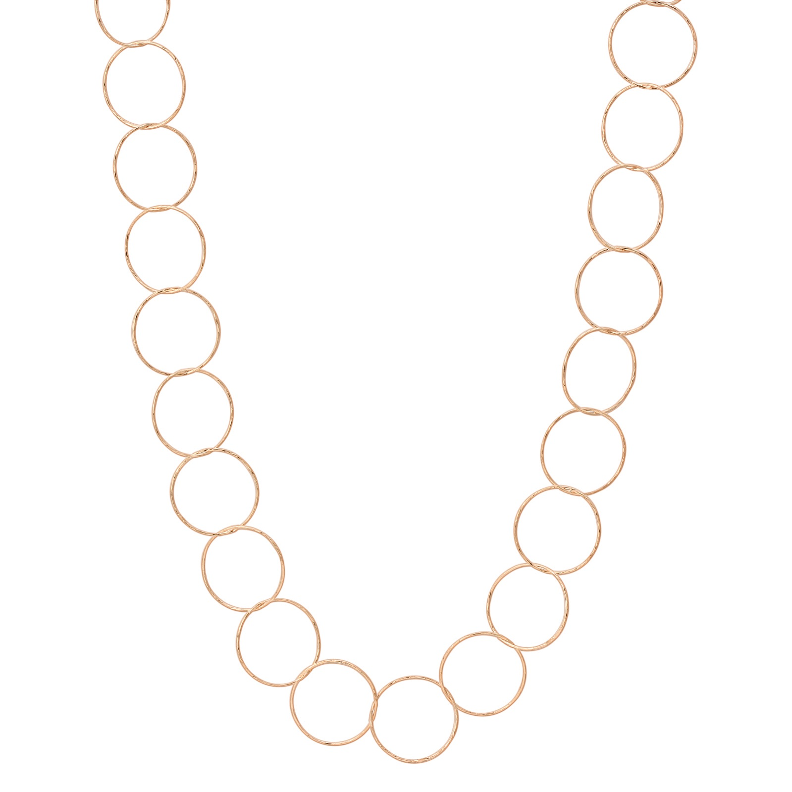 "24"" Rose Gold Diamond Cut Circle Necklace"