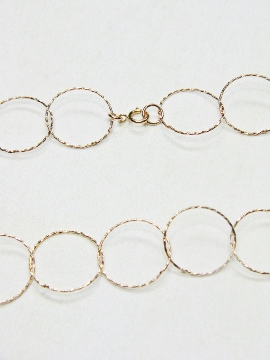 "36"" Rose Gold Diamond Cut Circle Necklace"