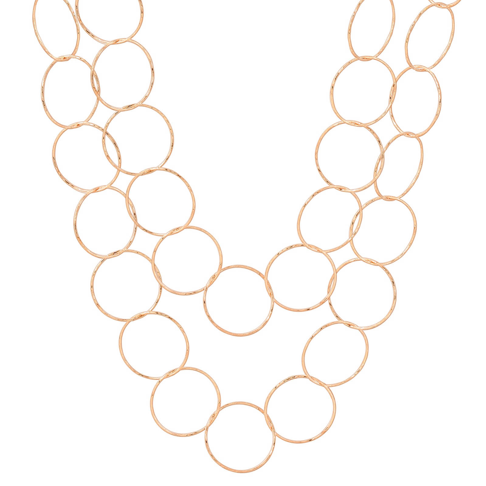 "36"" Rose Gold Diamond Cut Circle Necklace"