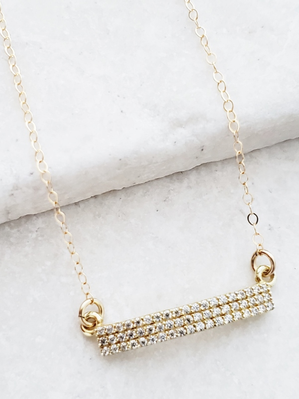 Vermeil Gold CZ Bar Necklace