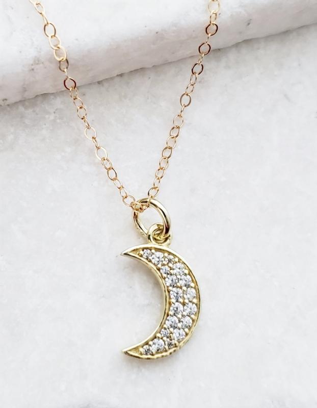 Vermeil Gold CZ Pave Crescent Moon Necklace