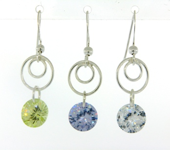 Swirly Earrings - Rd CZ Clear