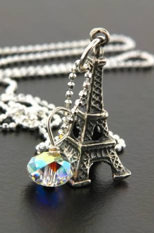 Eiffel Tower Necklace w/ crystal