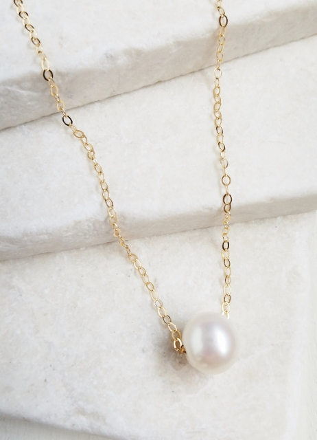 Gold Floating White Pearl Necklace