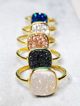 Gold Druzy Cushion Ring - Black