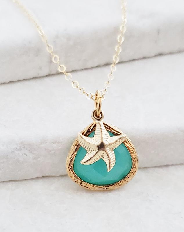 Gold Aqua Starfish Necklace