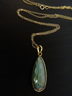 "30"" Gold Teardrop Labradorite Necklace"