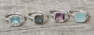 Chalcedony Cushion Ring in Sterling Silver