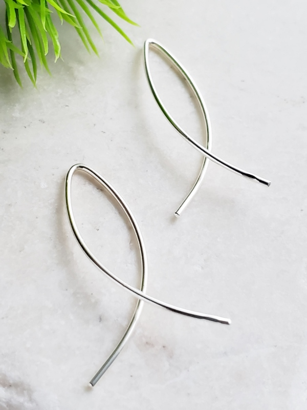 Silver Infinity Wishbone Threader Hoop Earrings - Small