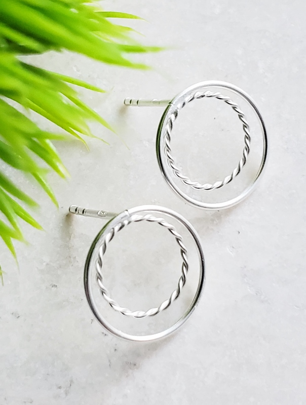 Silver Double Circle Studs