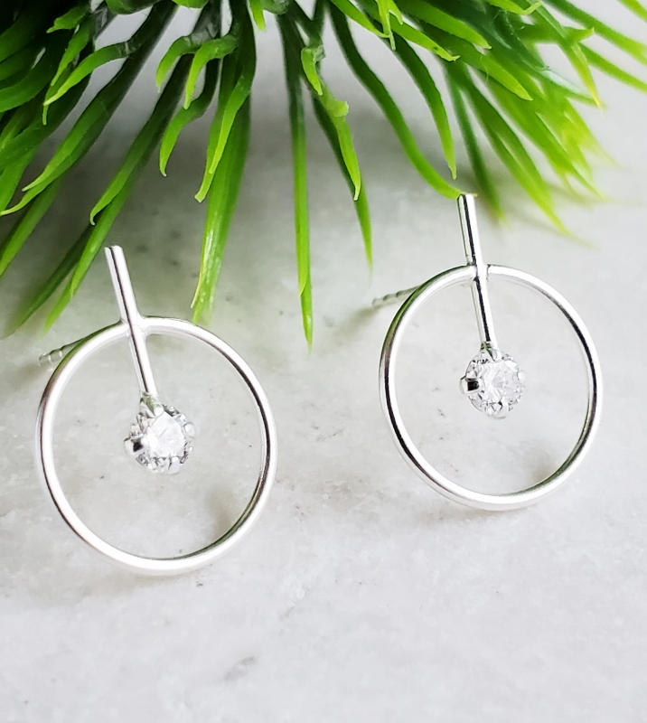 Silver Circle with Bar CZ Studs- Clear