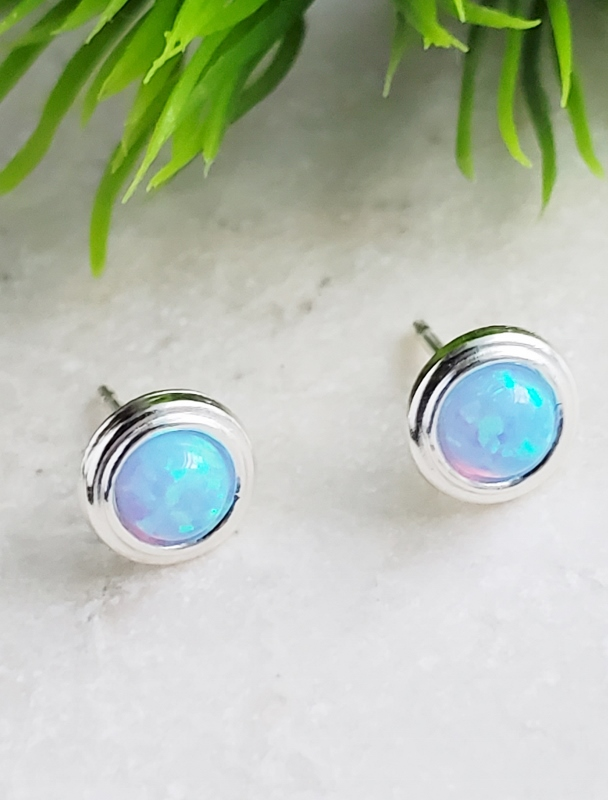 Silver Fire Opal Bezel Studs - Azure Blue