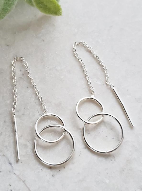 Silver Double Circle Threader Earrings