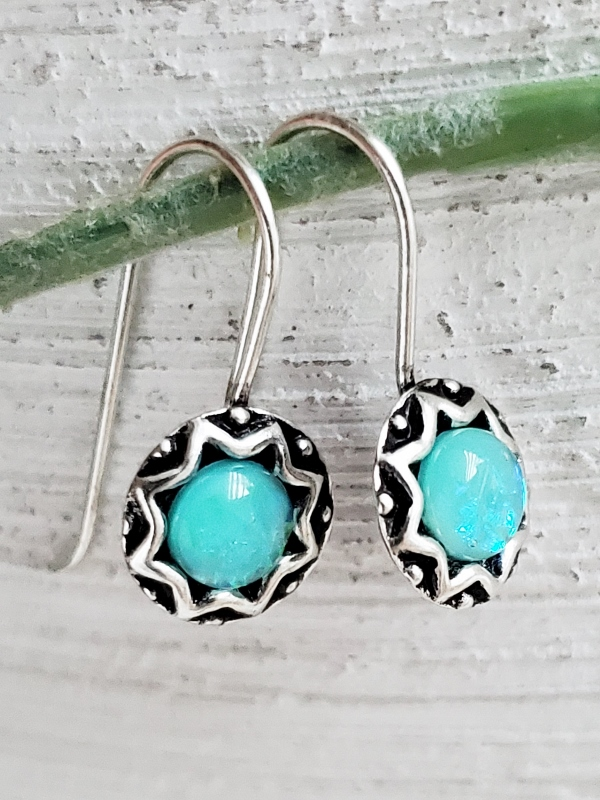 Silver Opal Dangle Earrings - Medium Azure Blue