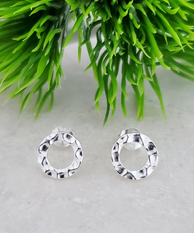 Silver Hammered Circle Studs