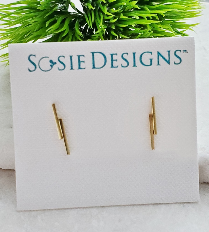 Gold Double Line Bar Studs