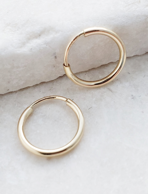 Gold-Filled Tiny Endless Huggie Hoops