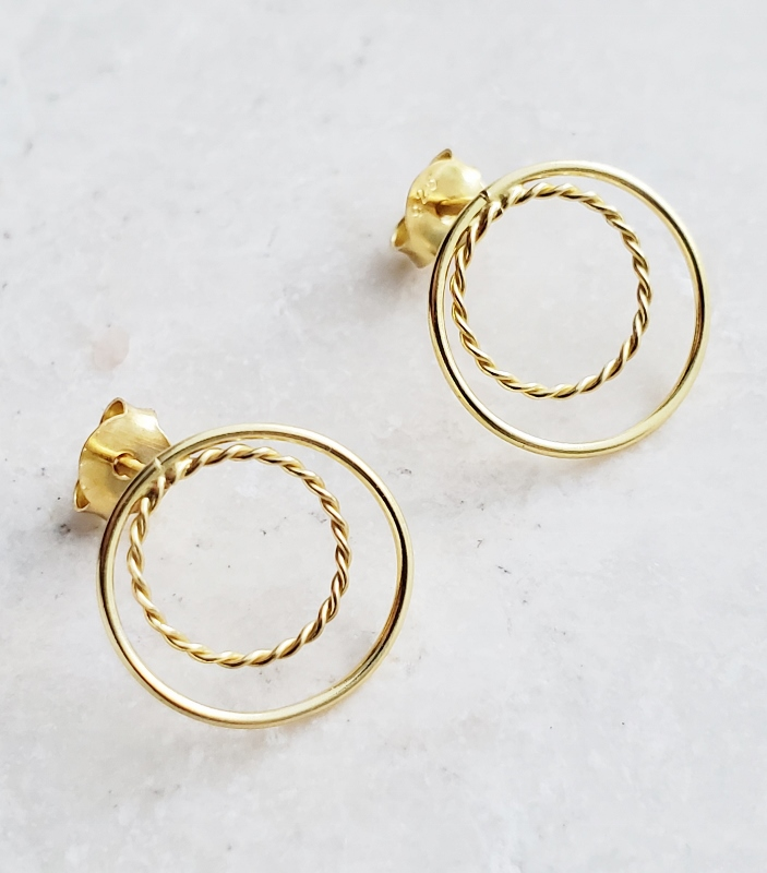 Gold Double Circle Studs