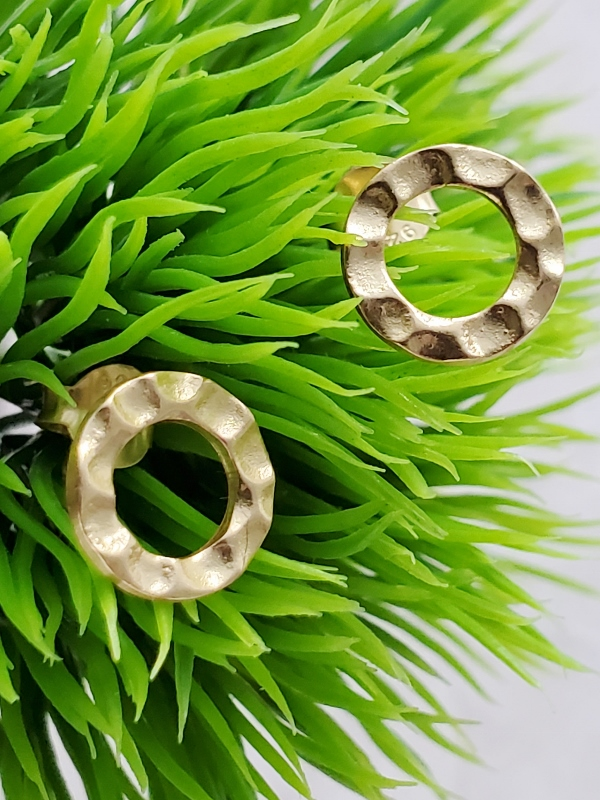 Gold Hammered Circle Studs