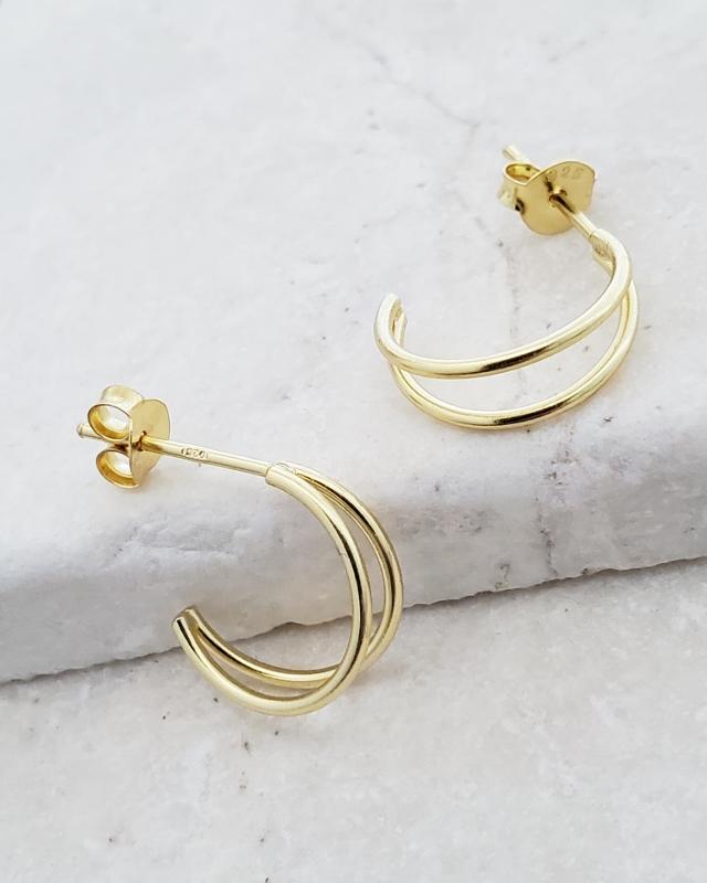 Gold Double Half Hoop Studs