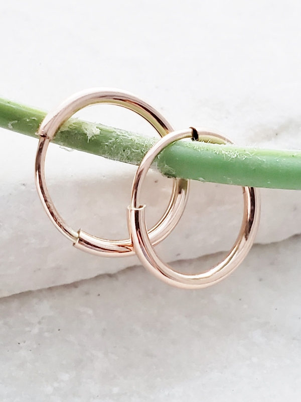 Rose Gold-Filled Tiny Endless Huggie Hoops