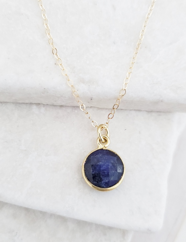 Gold Round Sapphire Necklace