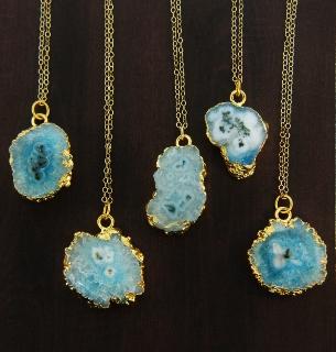 Gold Solar Quartz Necklace - Aqua Blue