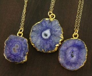 Gold Solar Quartz Necklace - Purple Blue