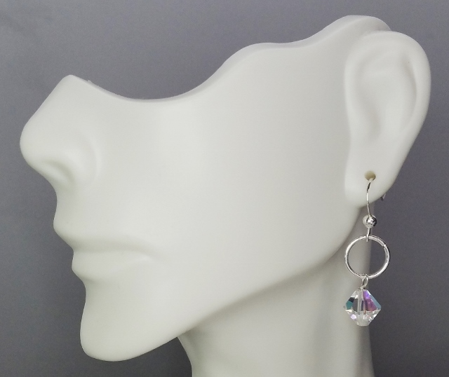 Silver Link with Swarovski Crystal Earrings - Clear AB