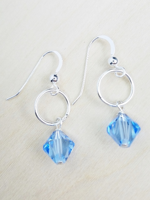 Silver Link with Swarovski Crystal Earrings - Light Sapphire