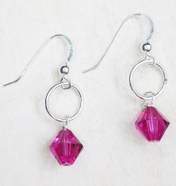 Silver Link with Swarovski Crystal Earrings - Fucshia