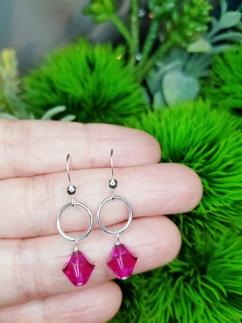 Silver Link with Swarovski Crystal Earrings - Fucshia