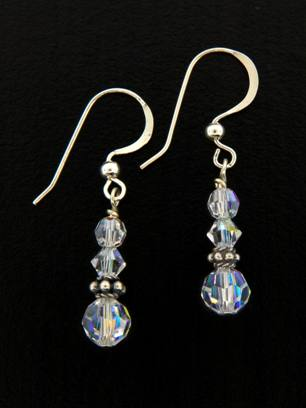 Small Drop Clear Earrings