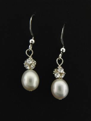 Pearl Pave Earrings in White