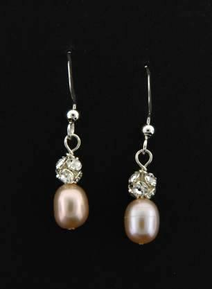 Pearl Pave Earrings in Pink
